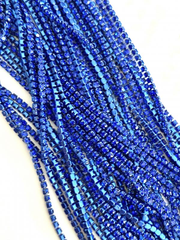 štras - royal blue crystal- 2mm / 10cm