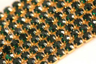"štrasová retiazka ""Emerald Gold"" 2,2mm / 10cm"